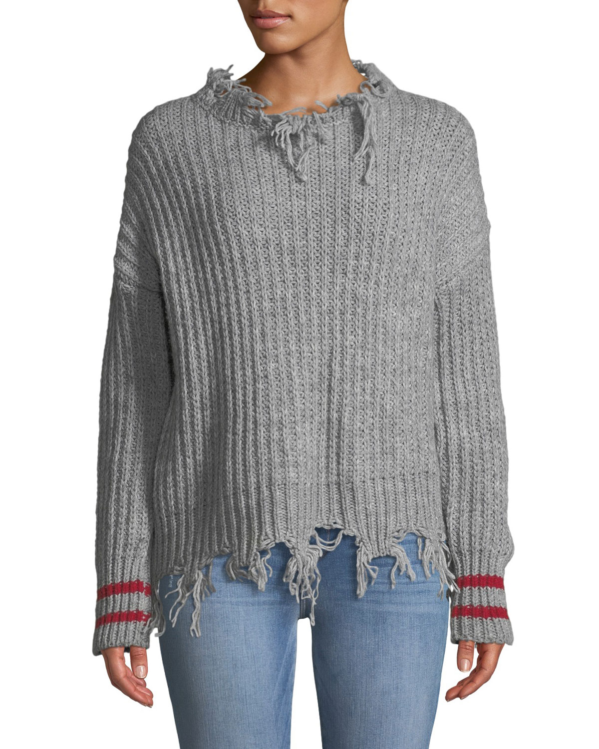 6b1a30833b PINKO Destroyed Pullover Sweater w/ Striped Cuffs | Neiman Marcus