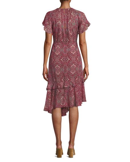 Nanette Lepore Desdemona Silk Dress w/ Asymmetric Hem