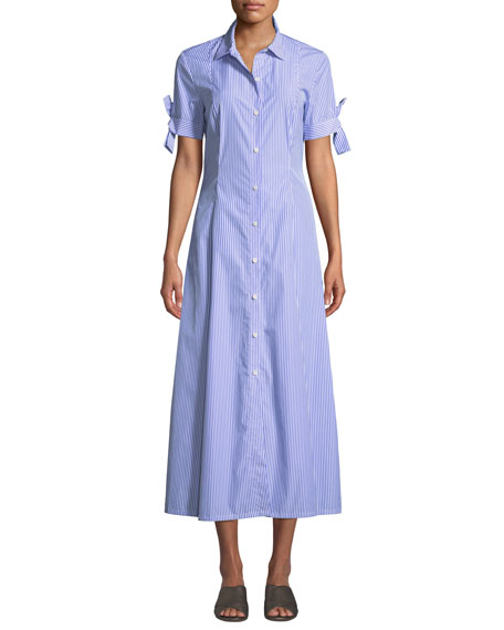 Image 1 of 3: Dalton Long Striped Tie-Sleeve Cotton Shirtdress
