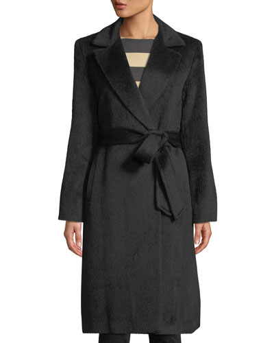 Belted Wrap Coat w/ Notched Lapel