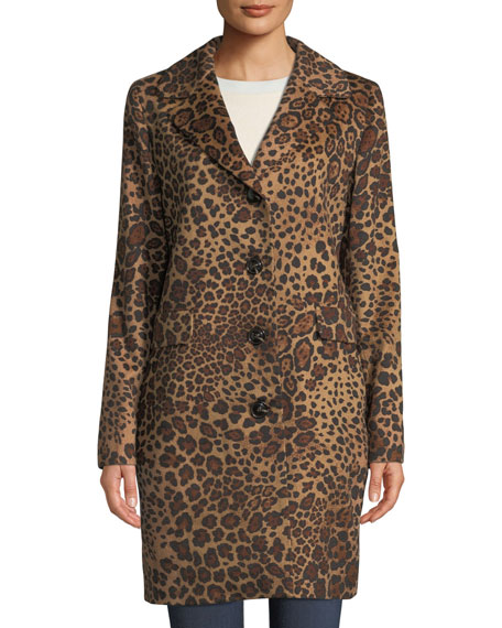 SOFIA CASHMERE Leopard-Print Button-Down Coat in Brown Pattern