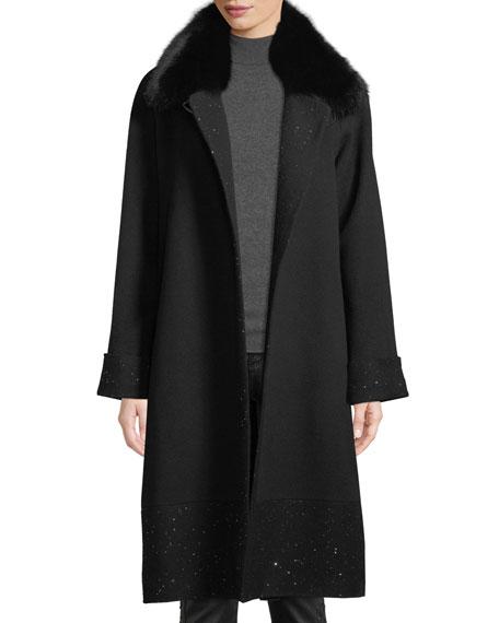 SOFIA CASHMERE Long Sequin Coat W/ Fur Collar in Black