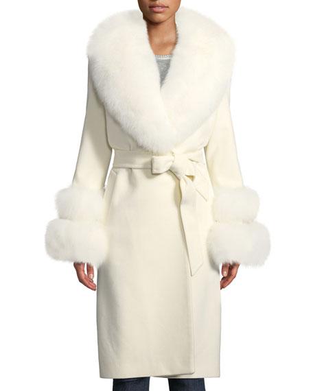 SOFIA CASHMERE Fur Shawl-Collar & Double-Cuff Coat in White