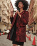 Sofia Cashmere Python-Print Wool-Blend Car Coat
