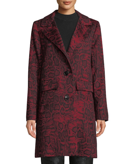 SOFIA CASHMERE Python-Print Wool-Blend Car Coat in Red Pattern
