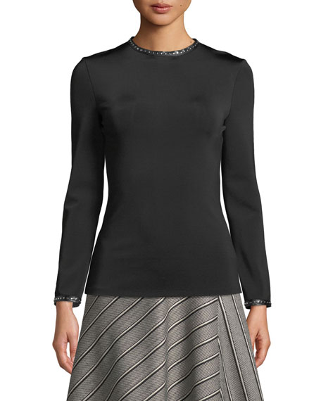 Helmut Lang Studded High-Neck Long-Sleeve Top w/ Leather