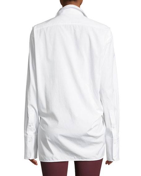 Helmut Lang Draped Button-Front Cotton Shirt