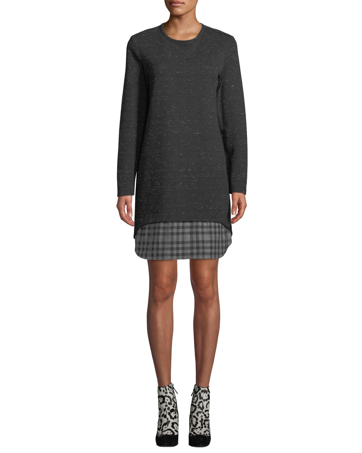 Madison Long Sleeve Checkered Layer Dress by Finley