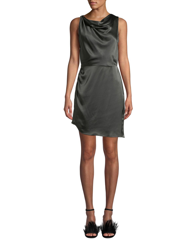 Cowl Neck Dress: Amanda Uprichard Arielle Cowl-Neck Silk Short Dress