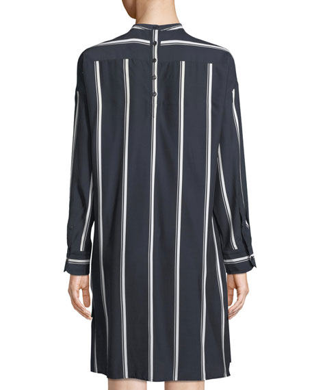 Rag & Bone Jacklin Striped Long-Sleeve Draped Silk Shirtdress