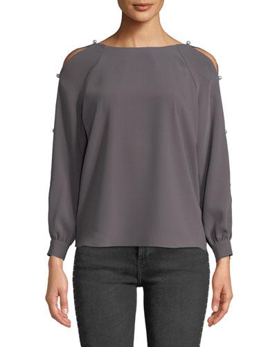 Genesee Pearl Cold-Shoulder Long-Sleeve Top