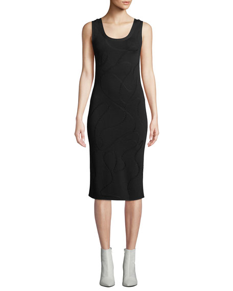 Helmut Lang Scoop-Neck Jacquard Midi-Length Tank Dress