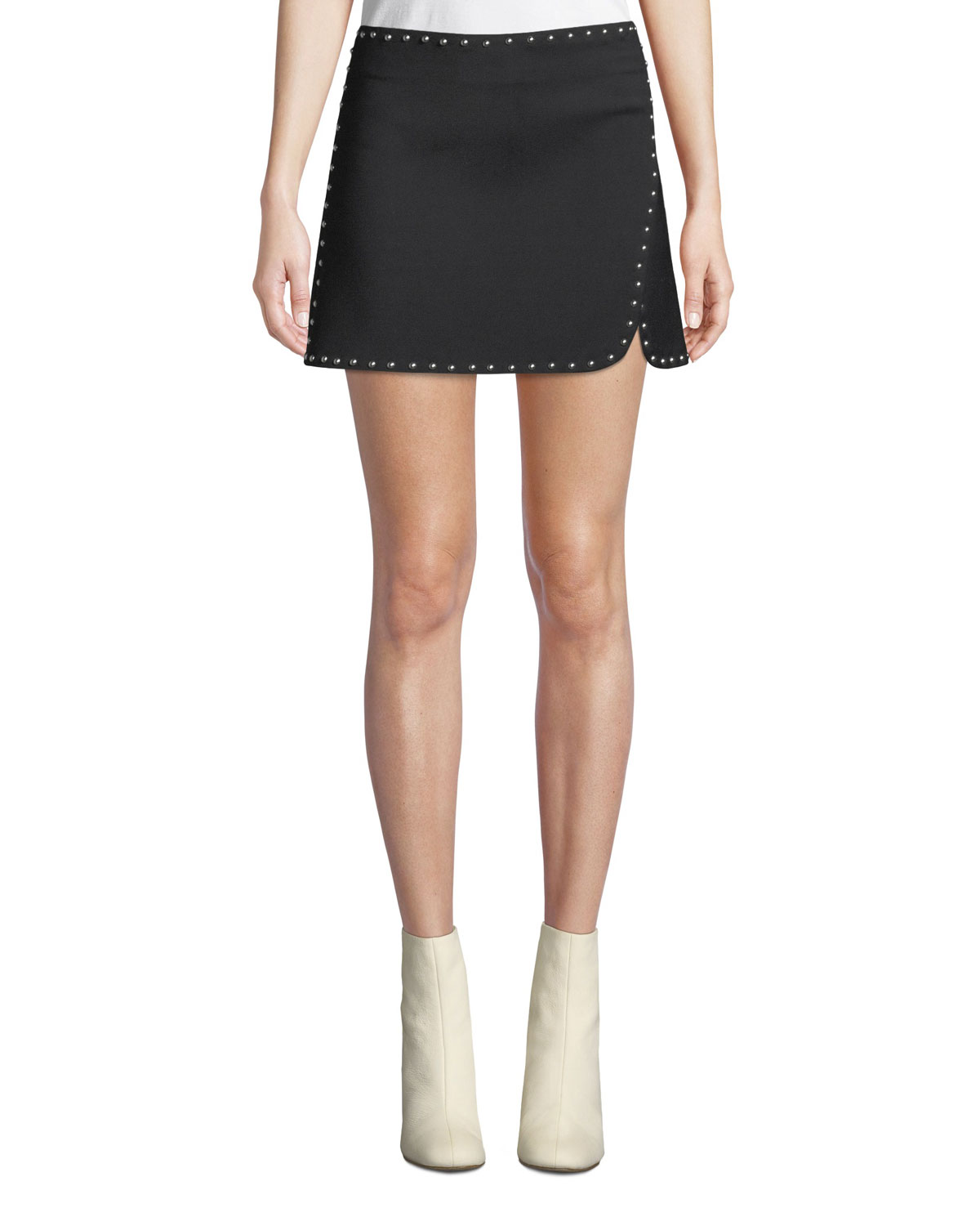 9b28d7fa4 Helmut Lang Studded Side-Split Mini Skirt | Neiman Marcus