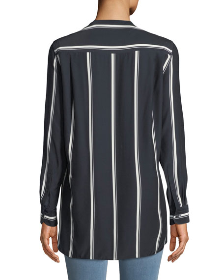 Rag & Bone Debbi Striped Silk Drape-Front Top