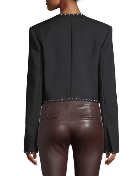 Studded Cropped Open-Front Suit Jacket