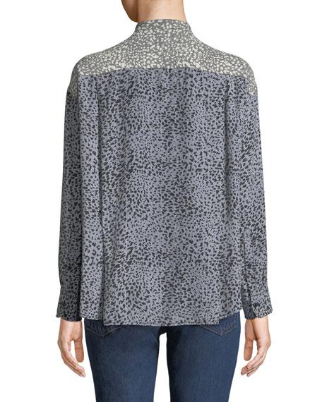 Rag & Bone Christie Long-Sleeve Cheetah Animal-Print Silk Blouse