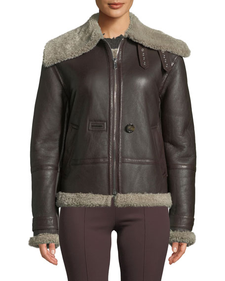 Helmut Lang Aviator Leather Zip-Front Jacket with Shearling