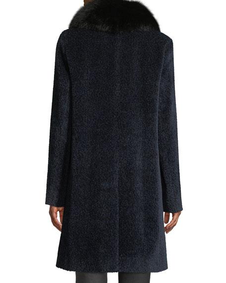 Sofia Cashmere Cocoon Button Coat w/ Fur Collar