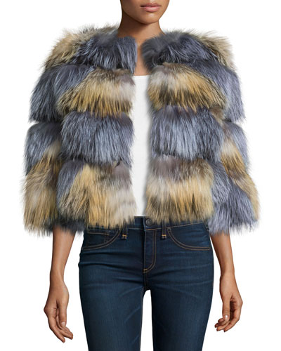 Boxy Two-Tone Fox Fur Jacket, Natural/Gray