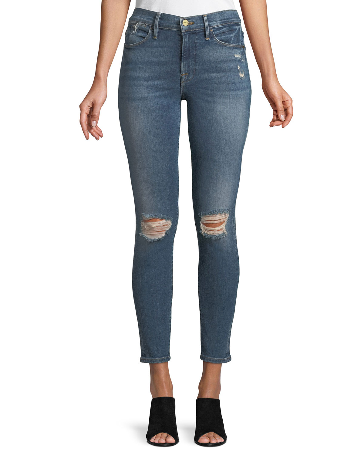 54572b69358 FRAME Le High Distressed Skinny Jeans, Cape Canaveral | Neiman Marcus