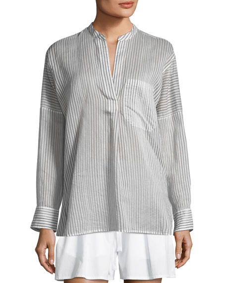 Pencil Stripe Long-Sleeve Pullover Tunic