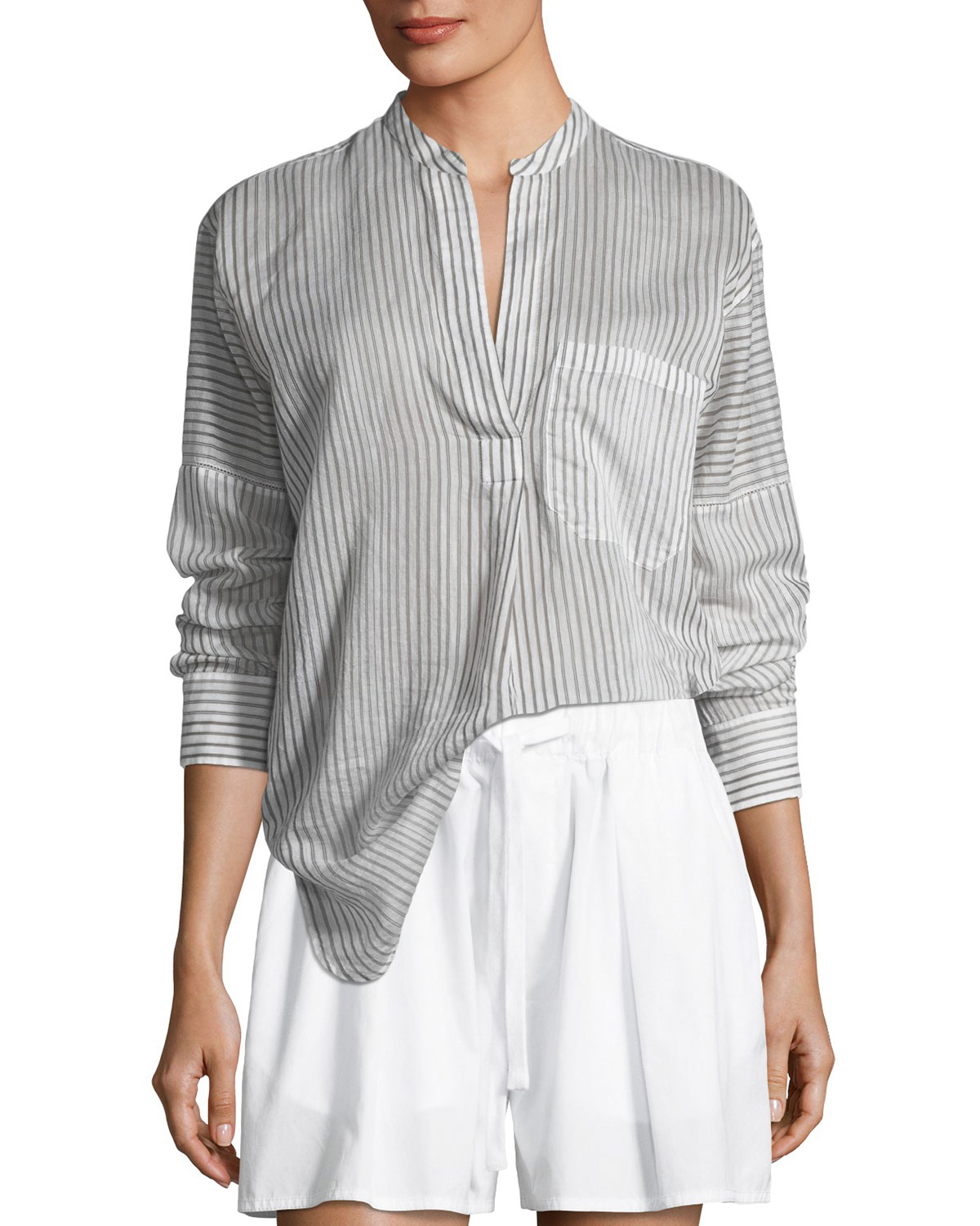 2713b89bc08730 Vince Pencil Stripe Long-Sleeve Pullover Tunic | Neiman Marcus