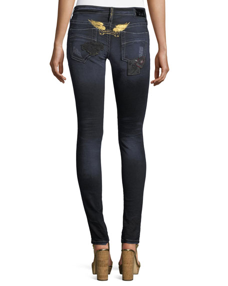 Marilyn Distressed Skinny Jeans w/ Patches