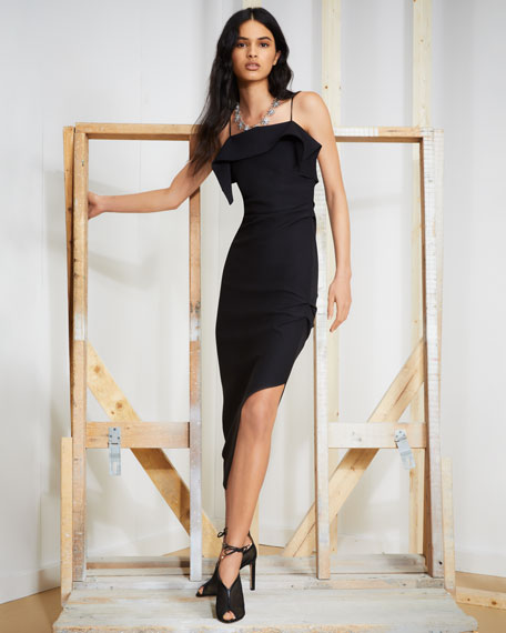 Helmut Lang Draped Asymmetric Wool Midi Dress