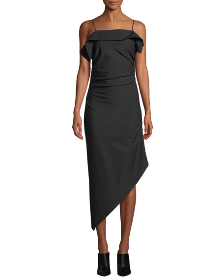 Helmut Lang Draped Asymmetric Wool Midi Dress