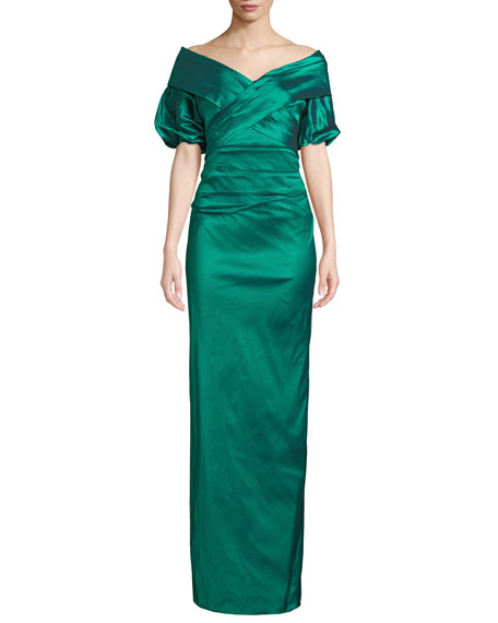 Rickie Freeman for Teri Jon Off-the-Shoulder Taffeta Column Gown
