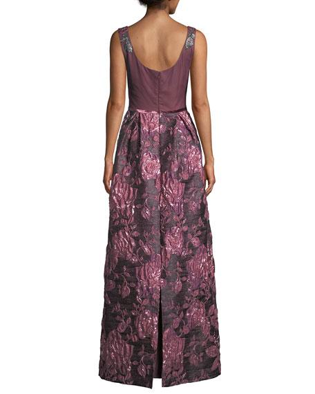 David Meister Jacquard Gown w/ Beaded Bodice