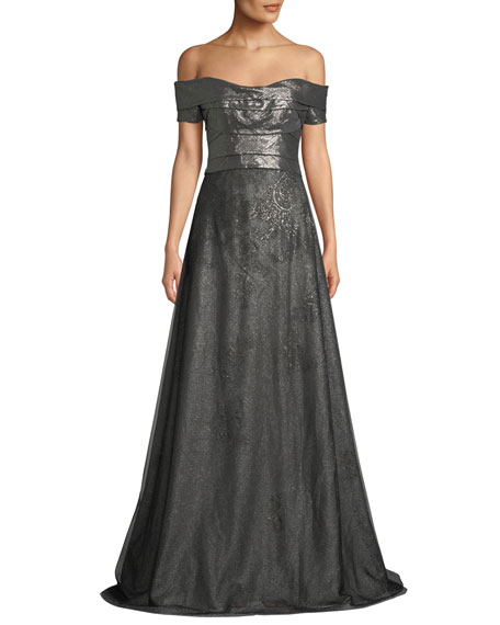 Rene Ruiz Metallic Off-the-Shoulder Ball Gown