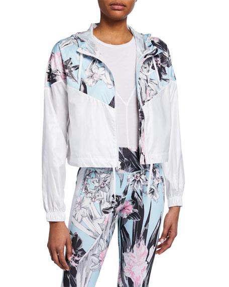 Nike Floral Colorblocked Cropped Windrunner Hooded Jacket