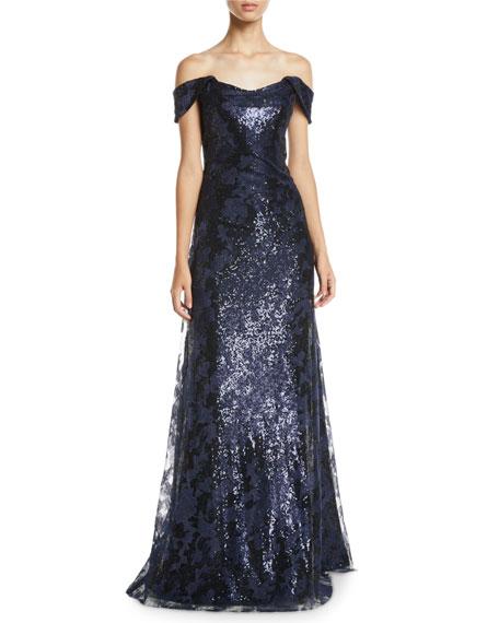 Rene Ruiz Off-the-Shoulder Lace & Sequin Gown