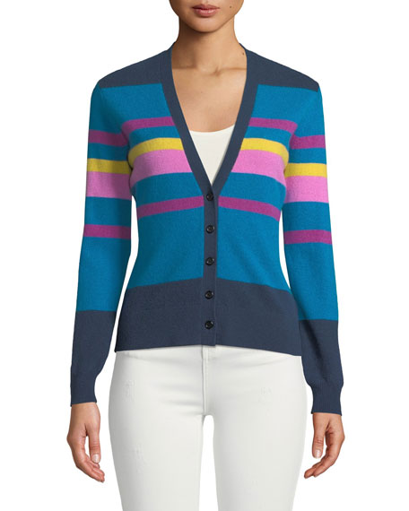 Neiman Marcus Cashmere Collection Striped V-Neck Shrunken Cashmere Cardigan