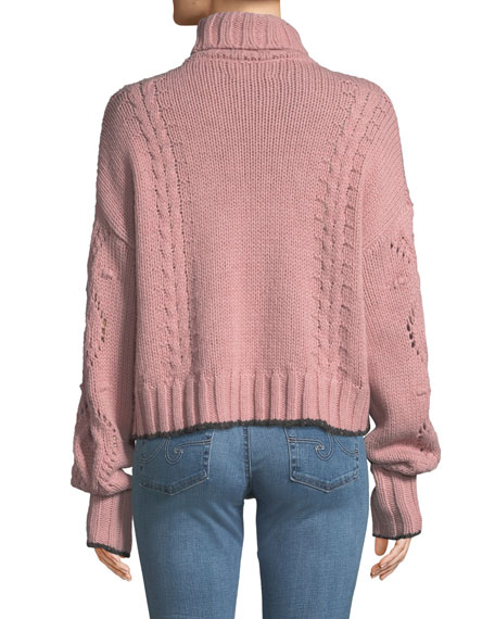 cinq a sept Edna Ruffle Turtleneck Cropped Sweater