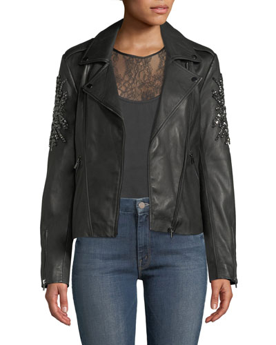 Embellished-Sleeve Leather Moto Jacket