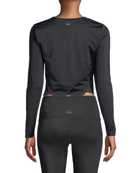 Beyond Yoga Cruz Scalloped Long-Sleeve Activewear Crop Top