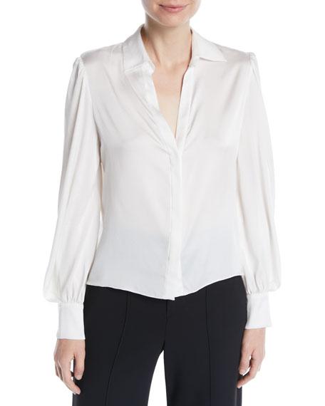 Alice + Olivia Shandra Puff-Sleeve Button-Down Shirt