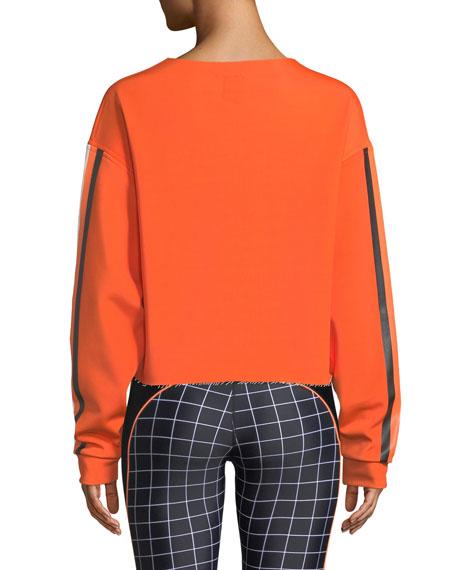 PE Nation The Blades Side-Stripe Raw-Edge Cropped Sweatshirt
