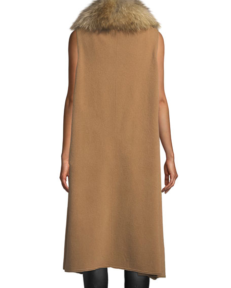 Beatrice Draped Wool-Blend Vest w/ Fox Fur