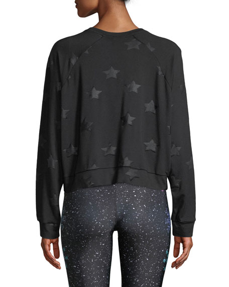 Image 2 of 4: Terez Star-Print Foil Cropped Crewneck Sweatshirt