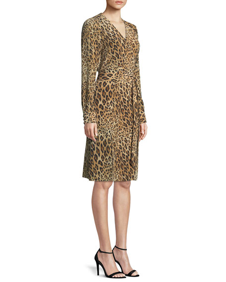 FRAME Sgt. Pepper Leopard-Print Silk Dress