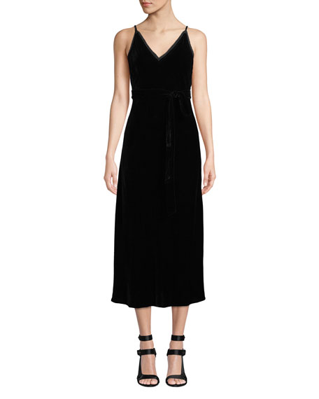 Sleeveless Velvet Midi-Length Slip Dress
