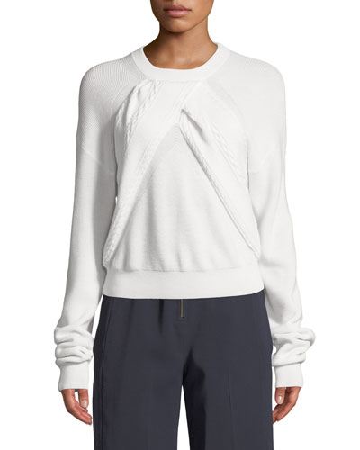Long-Sleeve Crewneck Sweater with Cable-Knit Front