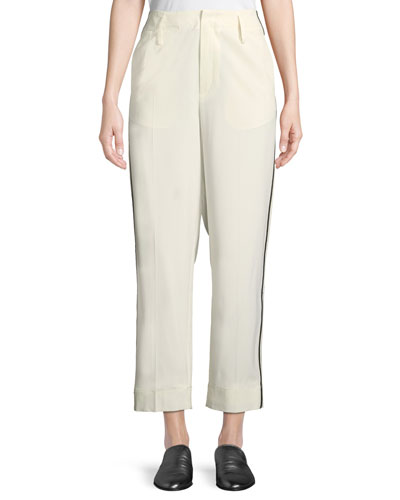 Wool Straight-Leg Ankle Trousers with Ribbon Trim