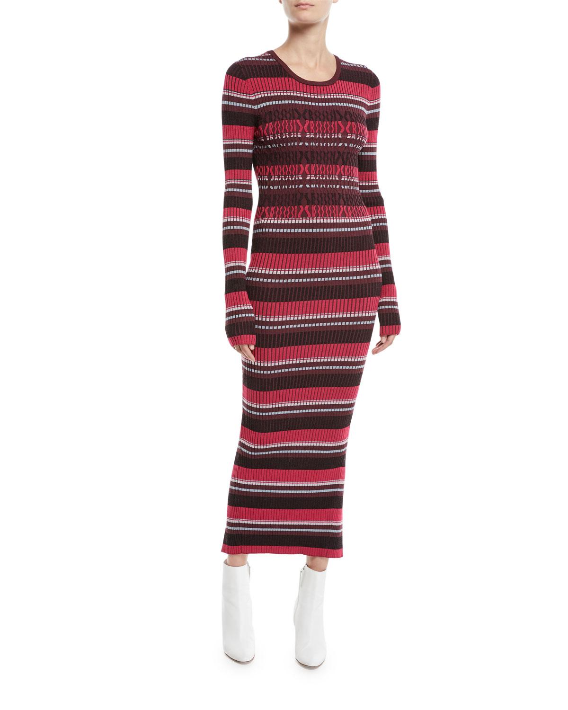 Striped Rib Knit Long Sleeve Midi Dress