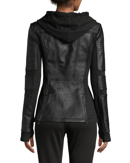 Blanc Noir Asymmetrical Hooded Terry Moto Jacket