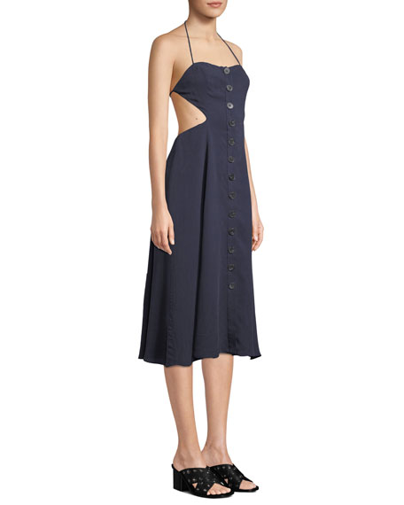 Fame and Partners Lina Open-Back Button-Front Dress