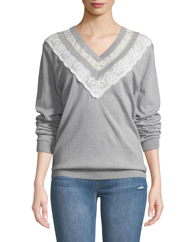 Rebecca Taylor Lace Combo V-Neck Pullover Sweater   Neiman Marcus 846a174ebb9